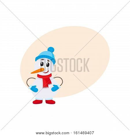 Cute and funny little snowman in hat and mittens, cartoon vector illustration isolated with background for text. Funny snowman, Christmas holiday decoration element