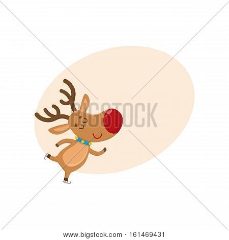 Cute and funny Christmas reindeer ice skating happily, cartoon vector illustration with background for text. Christmas red nosed deer ice skating, having fun, holiday season decoration element