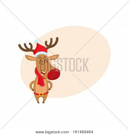 Funny Christmas reindeer in red hat, scarf and belt laughing happily, cartoon vector illustration with background for text. Christmas red nosed deer in hat and scarf, holiday decoration element