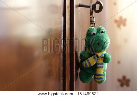 Miniature green toy frog with yellow scarf hanging on the closet key door macro shot