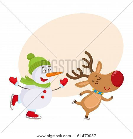 funny reindeer and snowman skating on ice, cartoon vector illustration isolated on white background with background for text. Deer and snowman, Christmas attributes, decoration elements