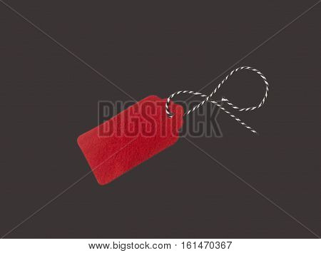 Gift tags isolated on black background. Sale labels. Price tags. Special offer and promotion. Store discount. Shopping time. Label from red felt.