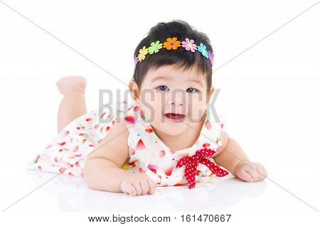 beautiful baby girl crawling on the floor
