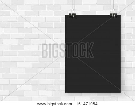 Posters on binder clips on brick wall. Rectangular black paper mock up. Modern vertical framings for your design. Vector blackboard paper template for lettering drawing presentations or quotes.