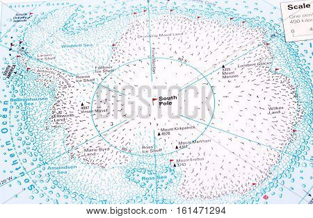 South Pole and Antarctida map as an educational material.