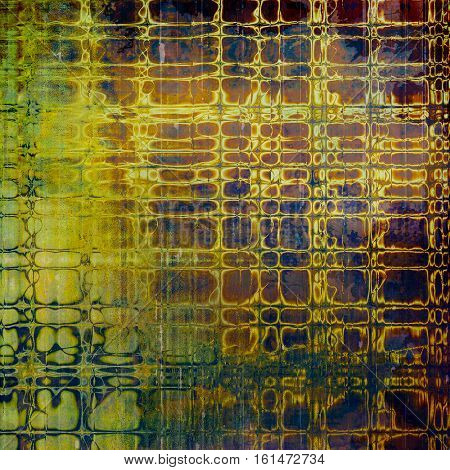 Art grunge background or vintage style texture with retro graphic elements and different color patterns: yellow (beige); brown; green; blue; purple (violet)