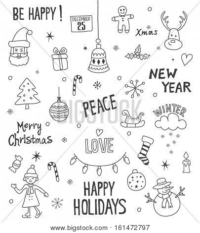 Merry Christmas And Happy New Year design elements.