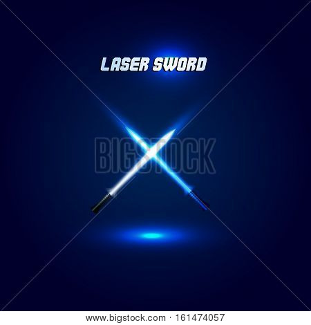 Isolated cossed light swords logo. Futuristic movie weapon logotype. Sabre with fire force icon. Lightsaber signs. Scifi shiny neon longsword vector illustration