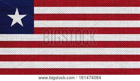 Flag Of Liberia On Old Linen