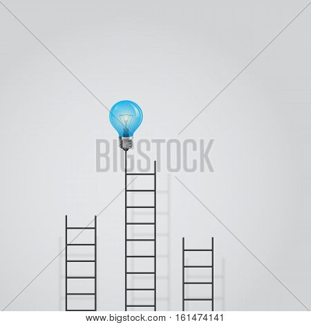 Creative light bulb and ladder sign.Ladder to success concept with idea light bulb icon.Creative idea and leadership concept.Business competition icon.Vector illustration