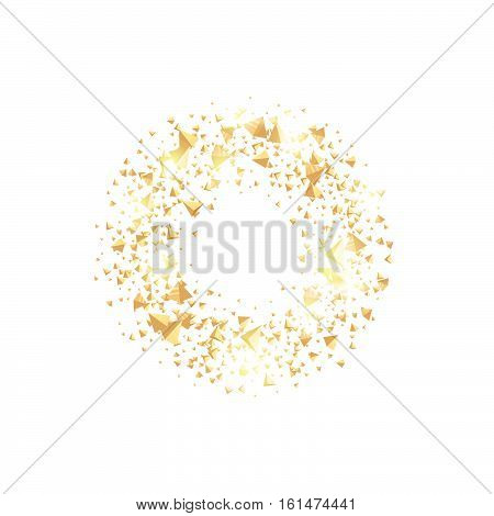 Isolated abstract golden circle logo. Round shiny luxurious brilliant triangles logotype. Glittering star dust icon. Festive glossy christmas wreath. Vector confetti illustration on white background