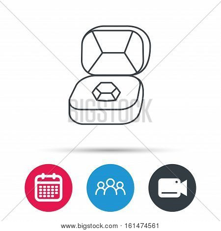 Brilliant jewellery icon. Engagement sign. Group of people, video cam and calendar icons. Vector