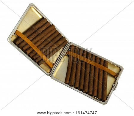 Cigarillos in cigarette case isolated on white background