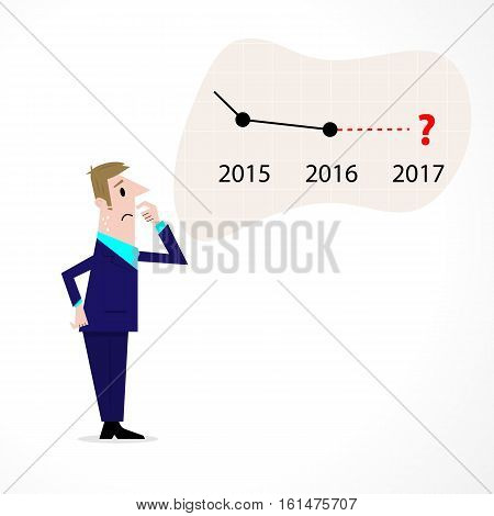 Business man confused stock market arrow.Sad businessman with graph indicating a regression. The concept of business failure bankruptcy. Vector illustration