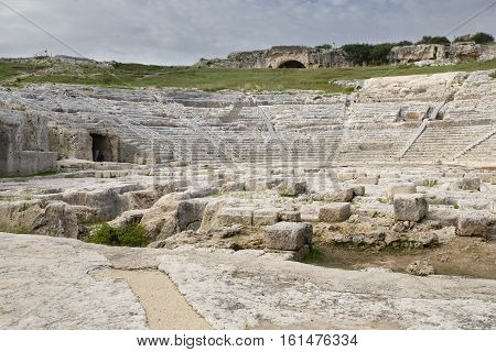 Ruins of old Greek theater  in Siracusa