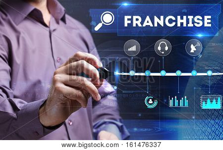 Technology, Internet, Business And Marketing. Young Business Person Sees The Word: Franchise
