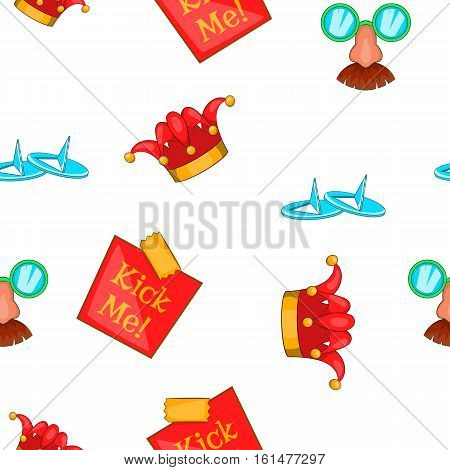 April fools day pattern. Cartoon illustration of April fools day vector pattern for web