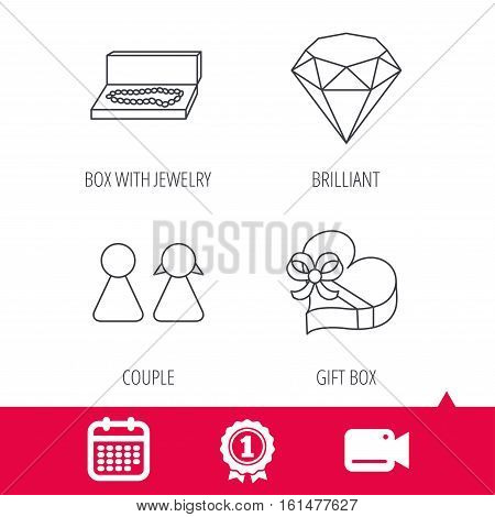 Achievement and video cam signs. Brilliant, gift box and couple icons. Box with jewelry linear sign. Calendar icon. Vector