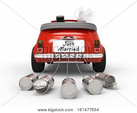Just Married car isolated on white background 3D rendering