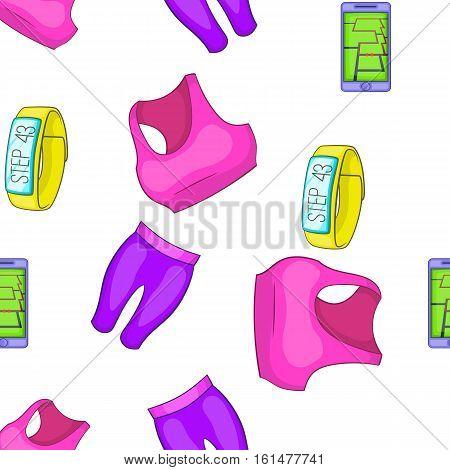 Fitness lifestyle pattern. Cartoon illustration of fitness lifestyle vector pattern for web