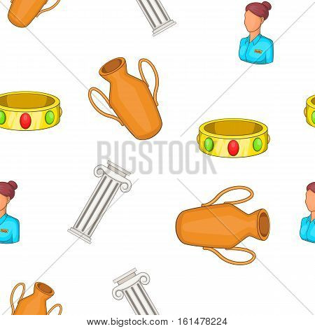 Museum exhibits pattern. Cartoon illustration of museum exhibits vector pattern for web