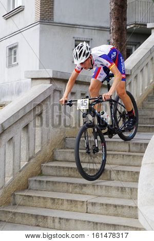 RUZOMBEROK SLOVAKIA - SEPTEMBER 4: Mountain bike race - down stairs called Ruzomberske Schody on September 4 2016 in Ruzomberok