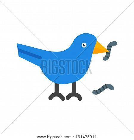 Bird, worm, spring icon vector image. Can also be used for pet spring. Suitable for mobile apps, web apps and print media.