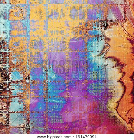 Abstract scratched background or frame with weathered grunge texture. Ancient style backdrop with different color patterns: yellow (beige); brown; blue; red (orange); purple (violet); pink