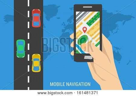 Vector concept mobile app navigation. Banner of computer tracking system. Hand holds smartphone with city map gps navigator and road with different cars on it. Blue poster in flat style