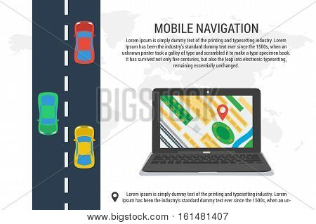 Vector concept mobile app navigation. Banner of computer tracking system. Computer laptop with city map gps navigator and road with different cars on it. White poster in flat style