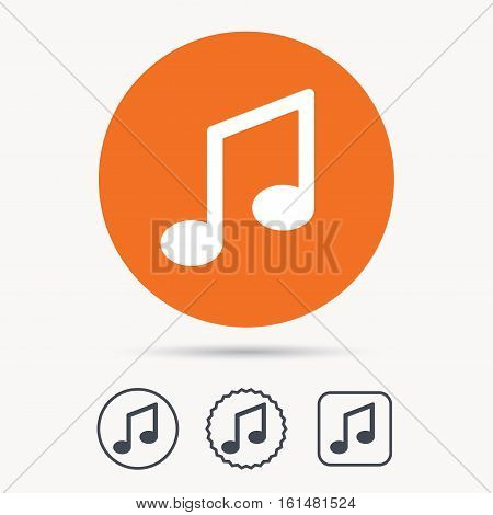 Music icon. Musical note sign. Melody symbol. Orange circle button with web icon. Star and square design. Vector