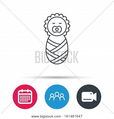 Newborn baby icon. Toddler sign. Child wrapped in blanket symbol. Group of people, video cam and calendar icons. Vector