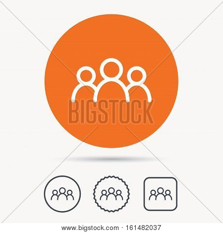 People icon. Group of humans sign. Team work symbol. Orange circle button with web icon. Star and square design. Vector