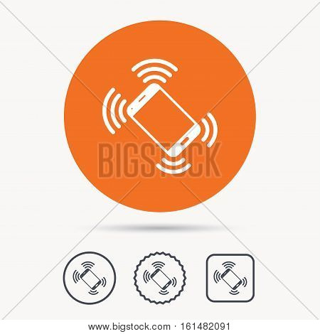 Smartphone call icon. Mobile phone communication symbol. Orange circle button with web icon. Star and square design. Vector