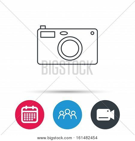 Photo camera icon. Photographer equipment sign. Group of people, video cam and calendar icons. Vector