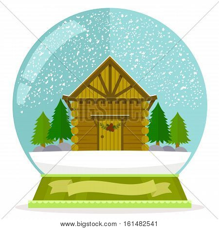 flat illustration of wooden cabin in a snow globe with a blank label