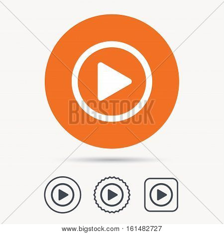 Play icon. Audio or Video player symbol. Orange circle button with web icon. Star and square design. Vector