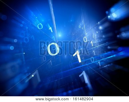 Binary code in cyberspace computer generated abstract background 3D rendering