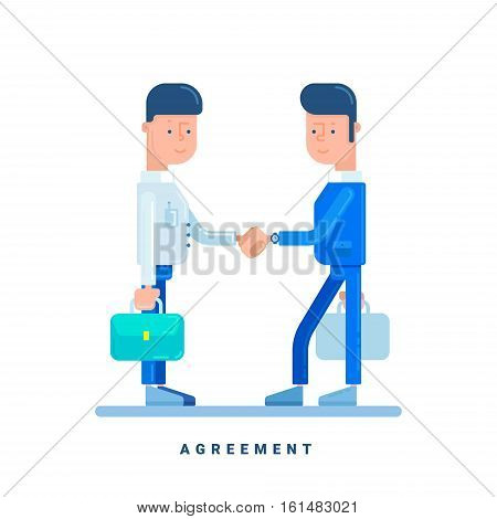 Two businessmen conclude an agreement. Business concept for agreement. Cartoon male characters. Flat style vector illustration isolated on white
