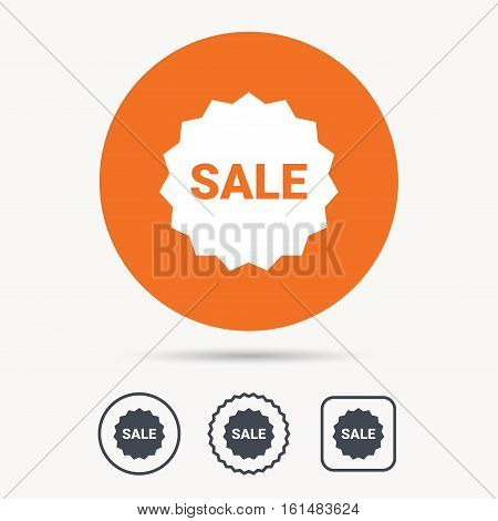 Sale icon. Special offer star symbol. Orange circle button with web icon. Star and square design. Vector