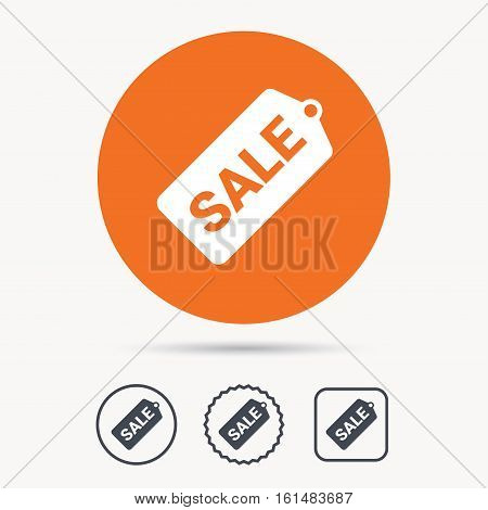 Sale coupon icon. Special offer tag symbol. Orange circle button with web icon. Star and square design. Vector
