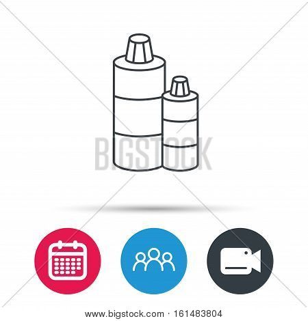 Shampoo bottles icon. Liquid soap sign. Group of people, video cam and calendar icons. Vector