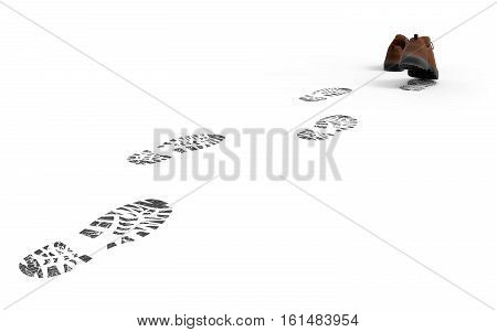 Walking shoes with traces isolated on white background 3D rendering