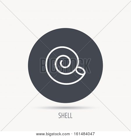 Sea shell icon. Spiral seashell sign. Mollusk shell symbol. Round web button with flat icon. Vector