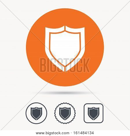 Shield protection icon. Defense equipment symbol. Orange circle button with web icon. Star and square design. Vector