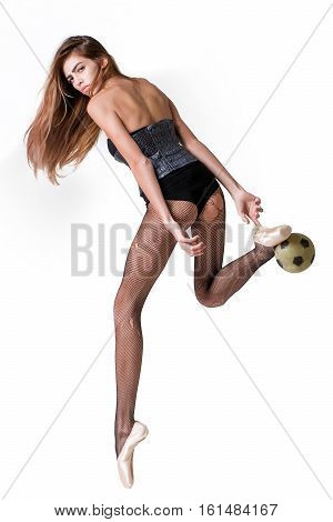 Pretty Ballerina Girl With Football Ball