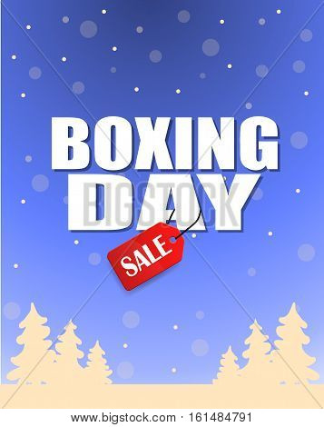 Vintage vector Boxing Day with red Sale tag hanging with typography design and trees