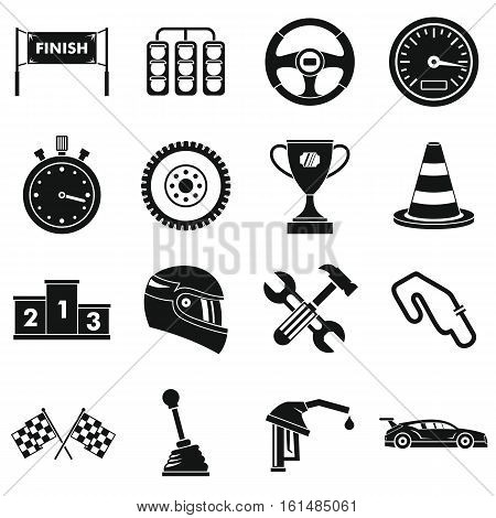 Racing speed icons set. Simple illustration of 16 racing speed vector icons for web