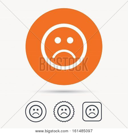 Sad smiley icon. Bad feedback symbol. Orange circle button with web icon. Star and square design. Vector