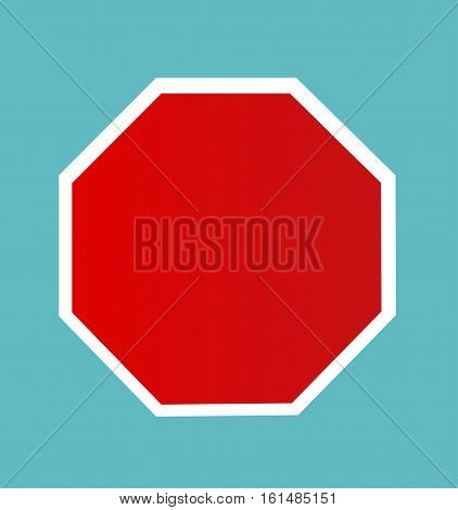Blank Stop Sign illustration with blue background